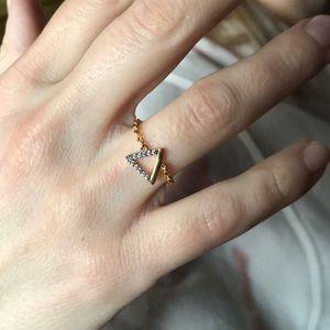 Triangle Chain Rhinestone Ring